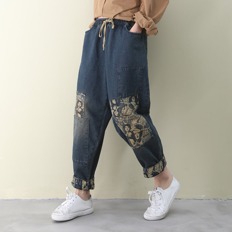 Printed Patchwork Jeans Fro Women