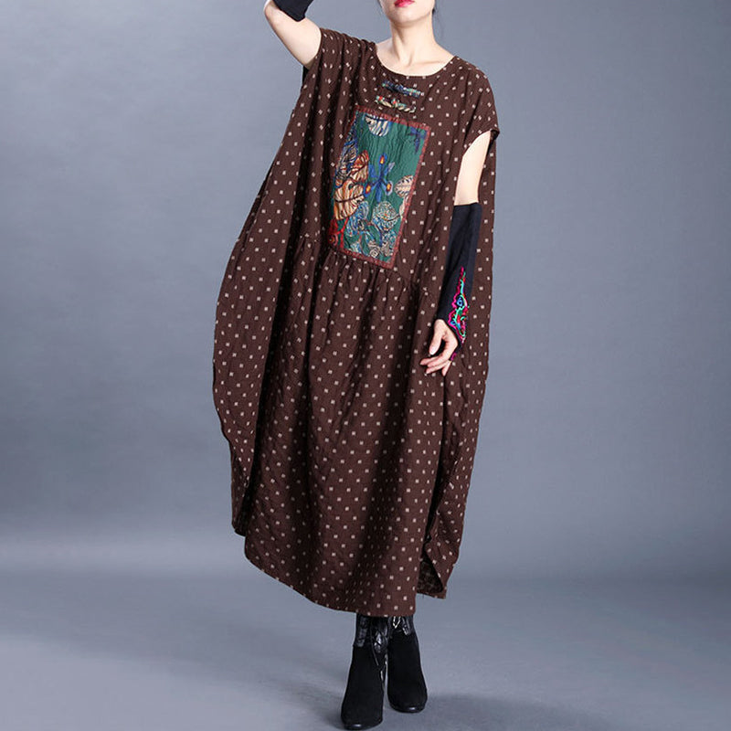 Printed Patchwork Short Sleeve Loose Dress