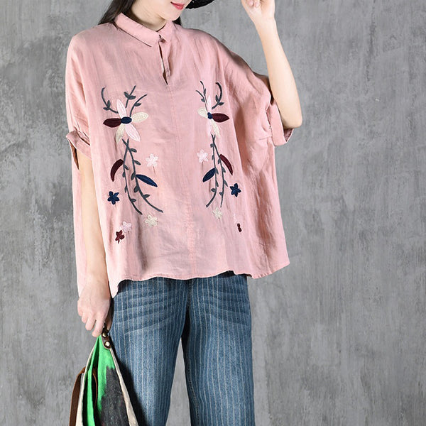 Printed Batwing Sleeve Loose Summer Blouse