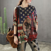Printed Breathable O-neck Retro Knit Shirt