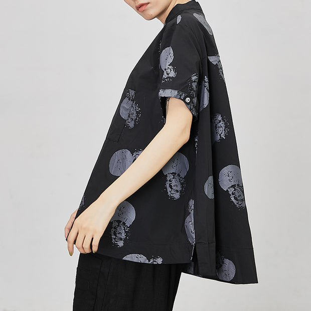 Printed Casual Stand Collar Summer Shirt