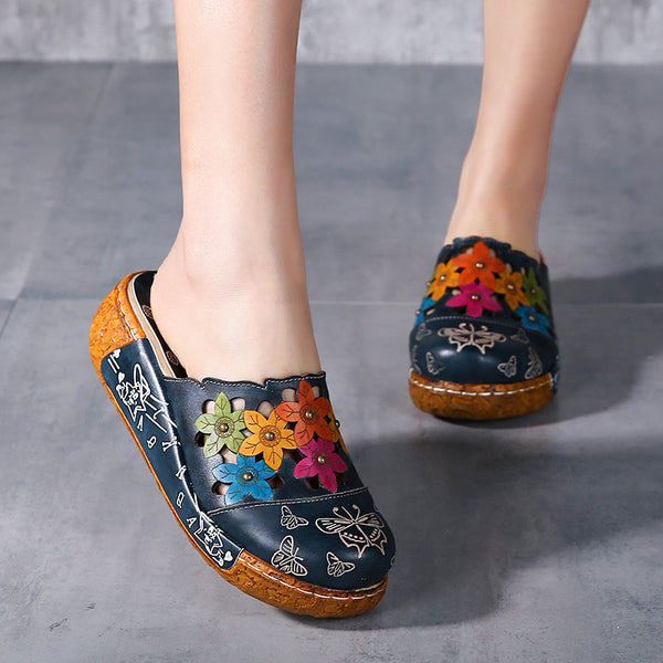 Printed Comfort Leather Flat Platform Slippers
