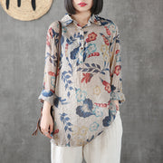 Printed Cotton Linen Long Sleeve Blouse