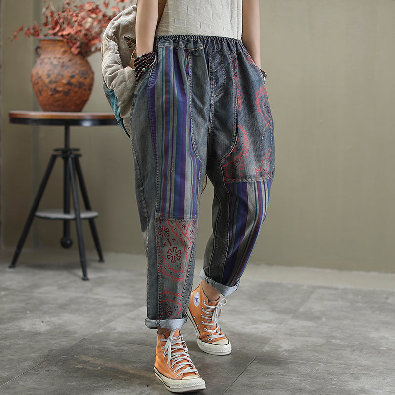 Printed Frayed Casual Harem Jeans
