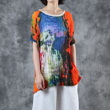 Printed High Low Hem Knitting T-Shirt