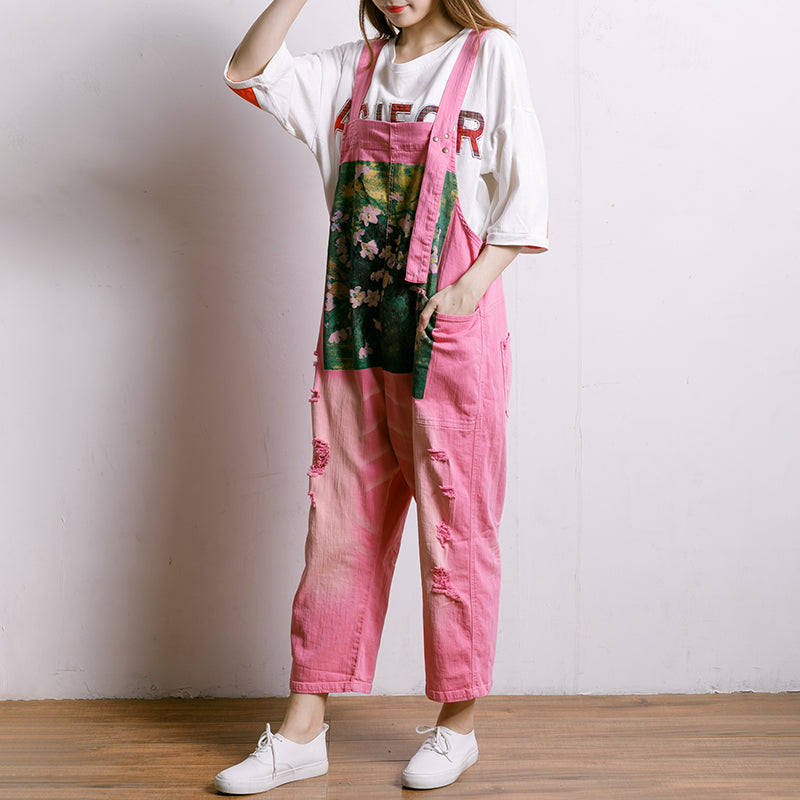 Printed Hole Pockets Casual Loose Overalls