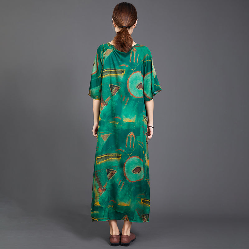 Printed Irregular Hem Lacing Green Dress