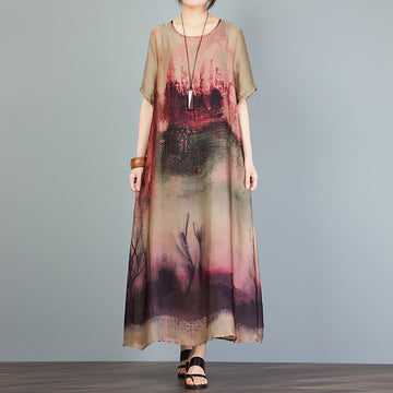 Printed Irregular Short Sleeve Loose A-Line Dress