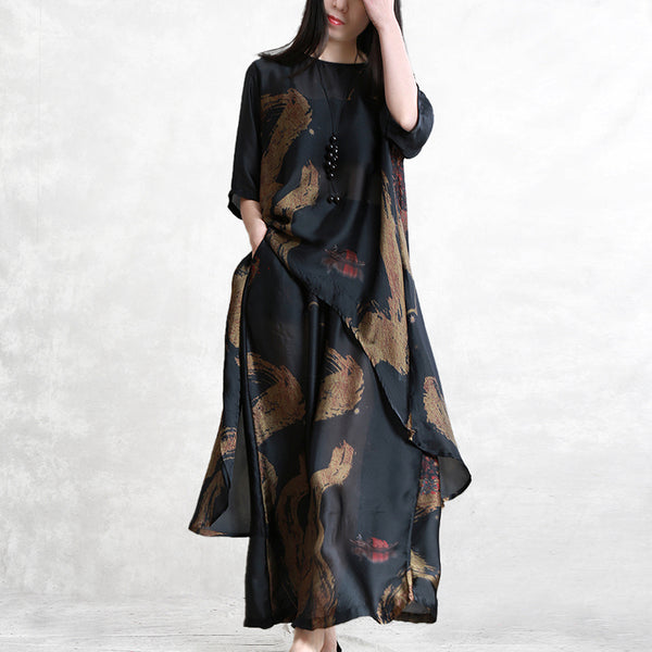 Printed Irregular T-Shirt And Wide Leg Pants