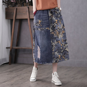 Printed Loose Ripped Skirt For Women