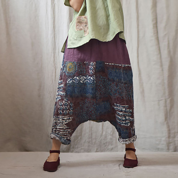 Printed Low Crotch Casual Harem Pants