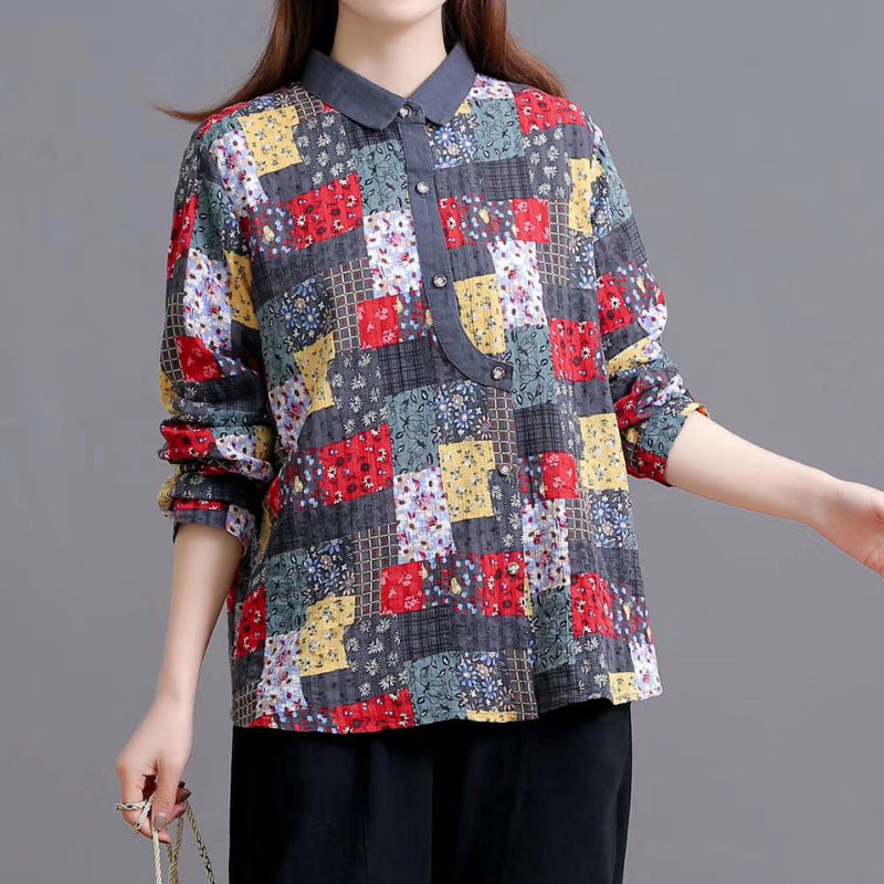Printed Plaid Patchwork Casual Shirt