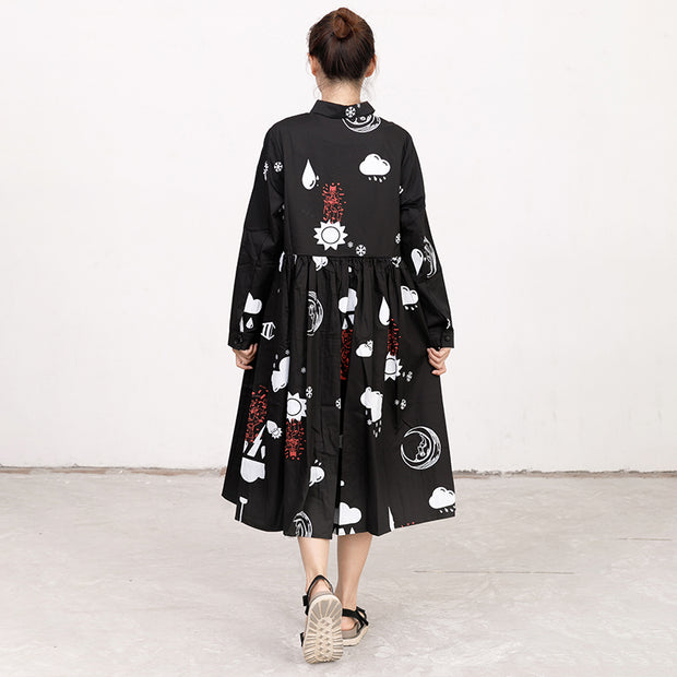 Printed Polo Collar Long Sleeve Cotton Pleated Dress
