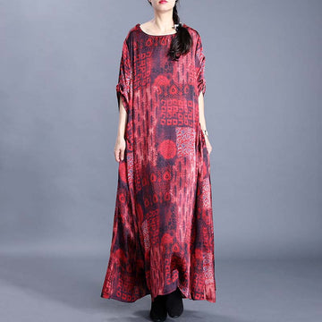 Printed Round Neck Retro Loose Dress