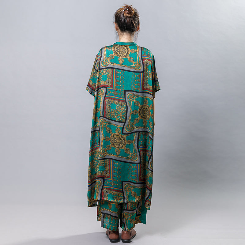 Printed Silky Soft Long Shirt And Wide Leg Pants