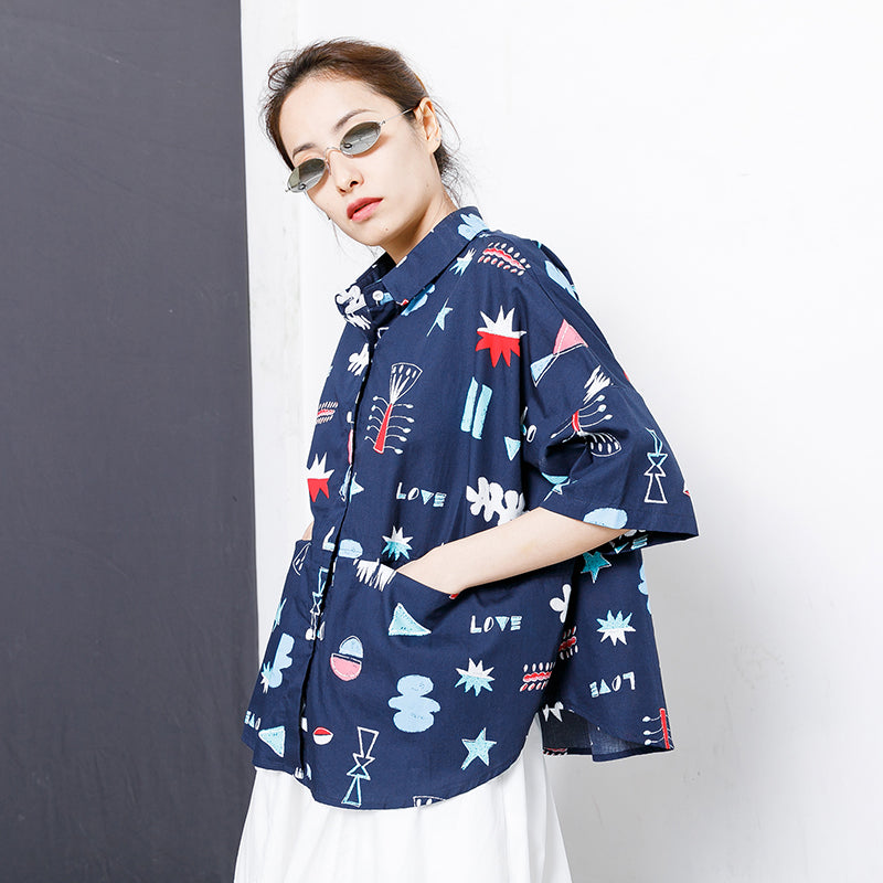 Printed Single Breasted Casual Loose T-Shirt