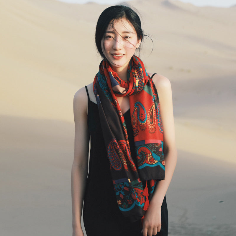 Printed Soft Comfortable Sunscreen Beach Travel Scarf