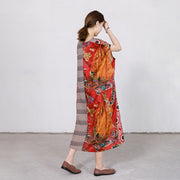 Printed Spliced Silky Comfortable Loose Dress