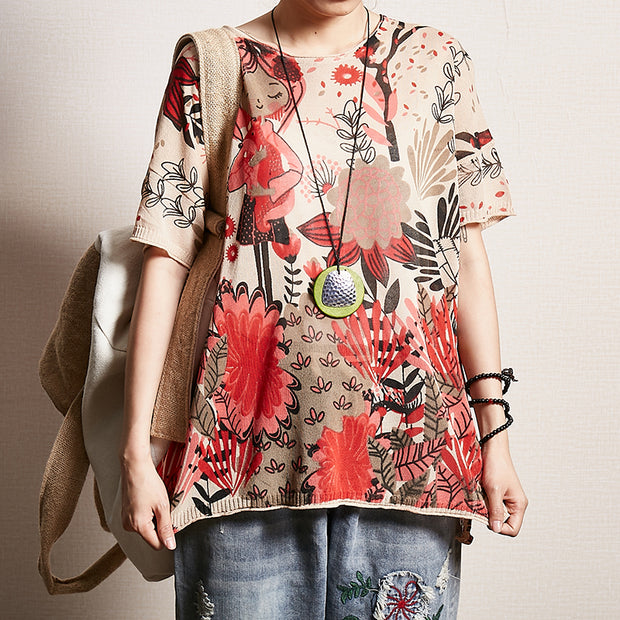 Printed Split Casual Loose Knitting T-Shirt