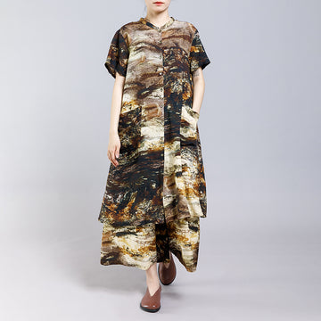 Printed Split Casual T-Shirt And Pants