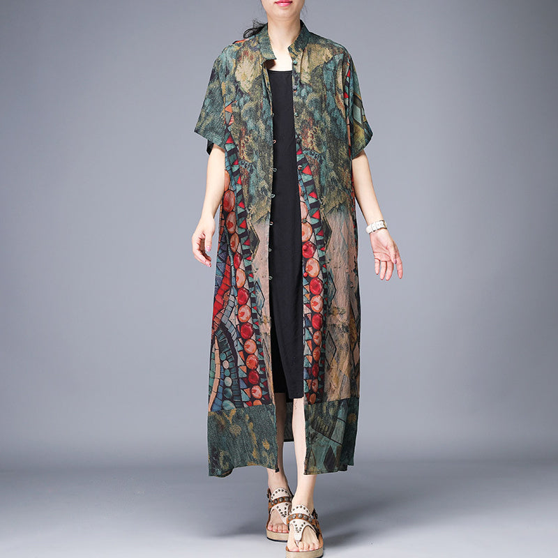 Printed Split Single Breasted Trench Coat