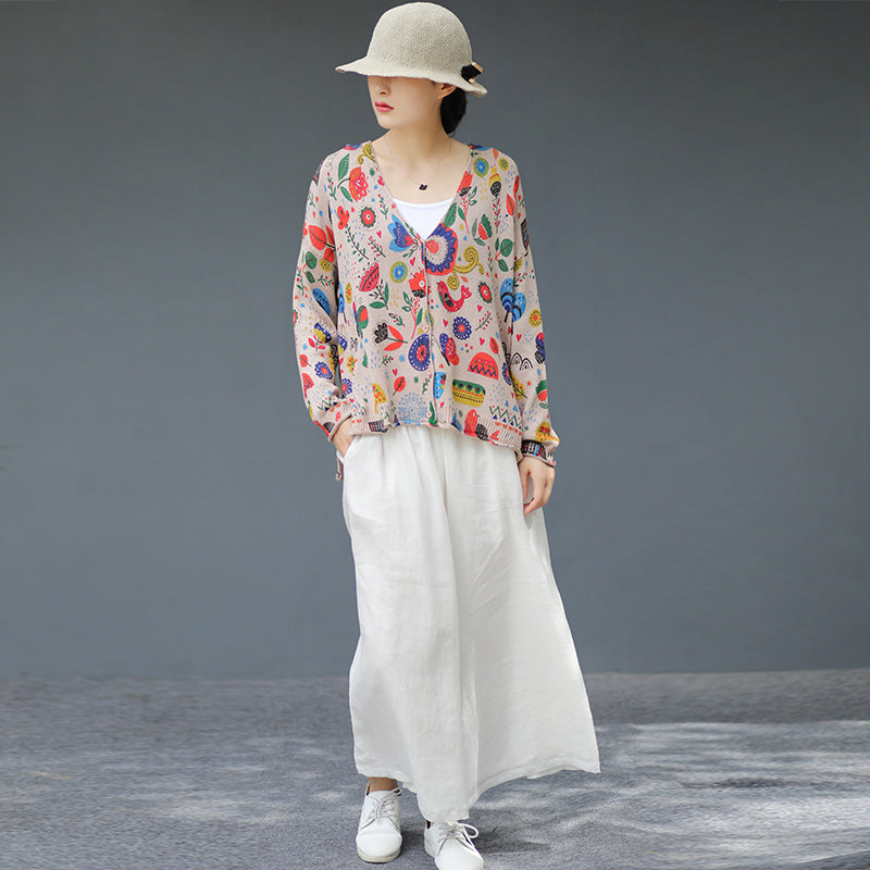 Printed V-Neck Retro Thin Knitted Shirt