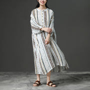 Printing Beige Women Stand Collor Cotton Dress