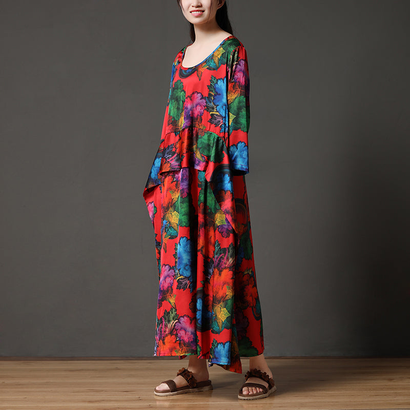 Printing Long Sleeve Loose Round Neck Polyester Dress