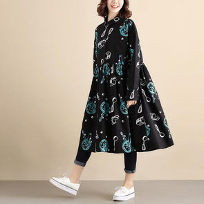 Printing Long Sleeve Women Black Pleated Dress