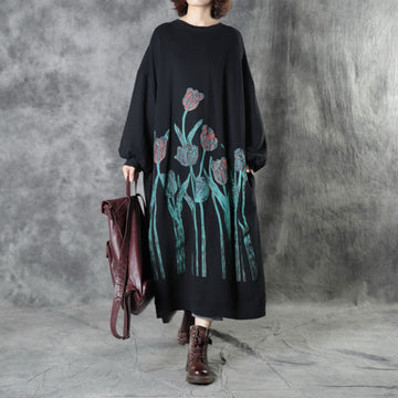 Pullover Floral Printed Loose Comfortable Dress