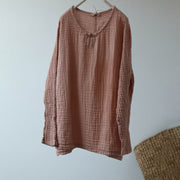 Pullover Solid Color Retro Comfortable Blouse