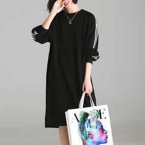 Pullover Stripe Long Sleeve Casual Dress Knee-length