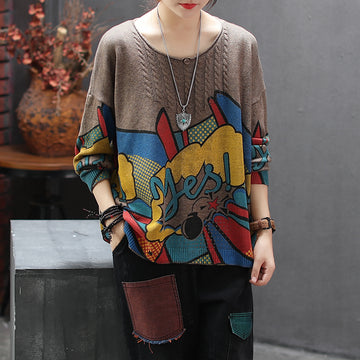 Pullover Thin Printed Loose Knitting Shirt