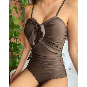 Pure Color Bowknot One Piece Swimsuit