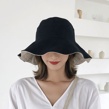 Pure Color Cotton Double-sided Hat For Women