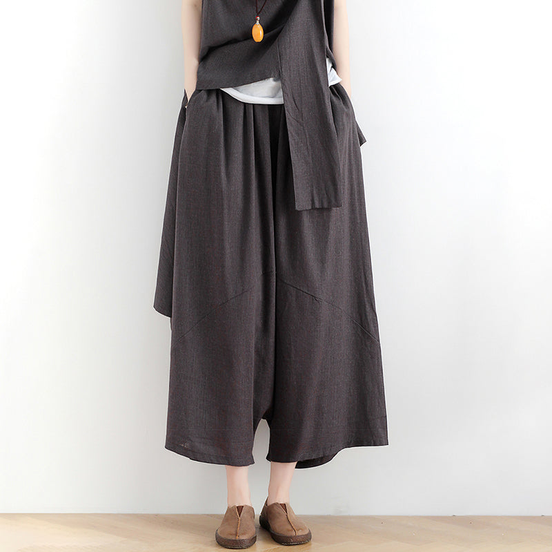 Pure Color Cotton Irregular Top and Wide Leg Pants