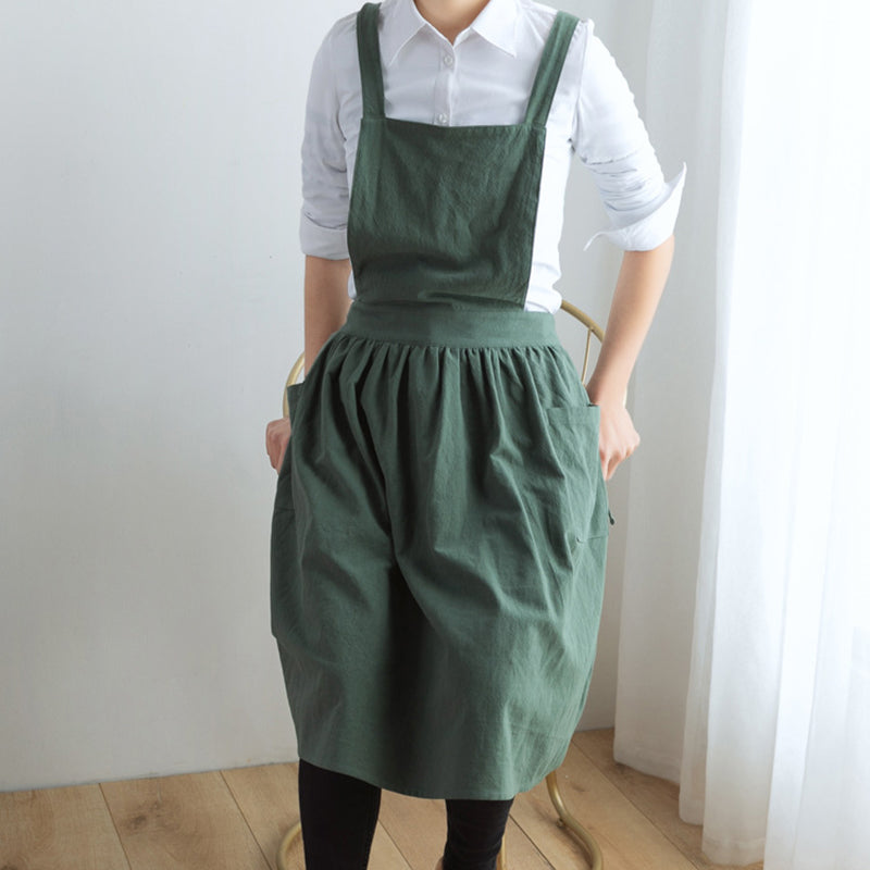 Pure Color Cotton Linen Kitchen Cooking Apron