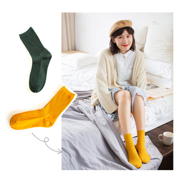 Pure Color Cotton Socks For Women - 3 Pairs