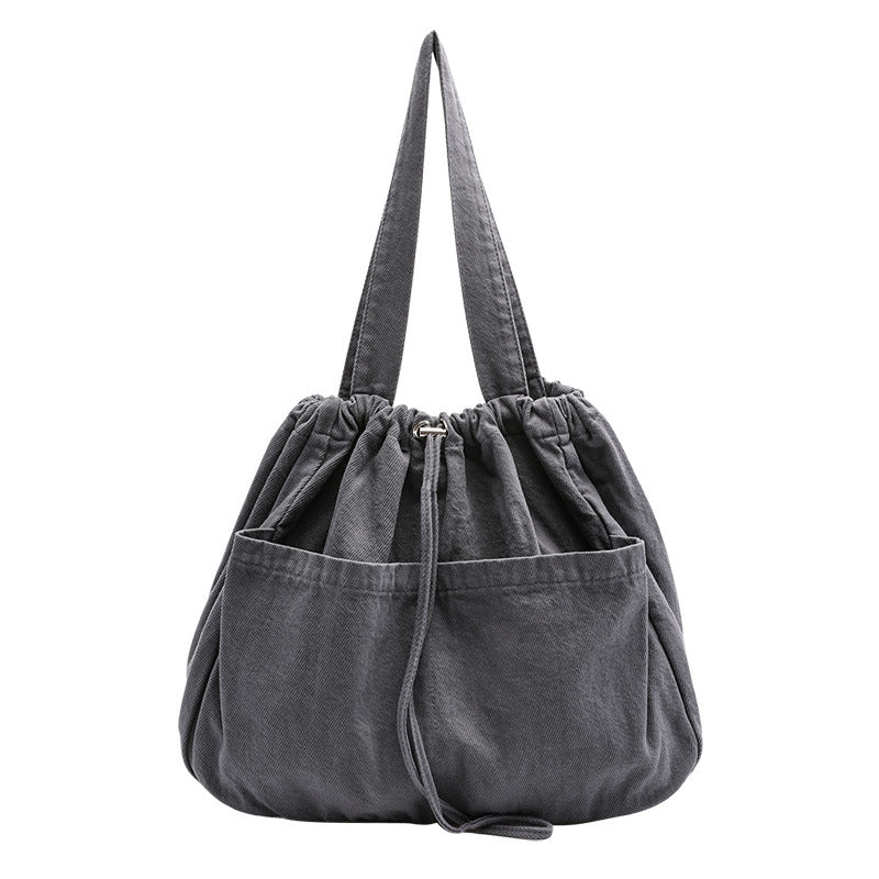 Pure Color Drawstring Canvas Shoulder Bag