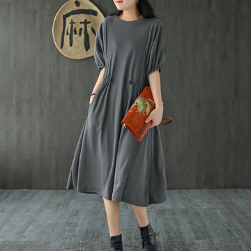 Pure Color Drawstring O-neck Cotton Midi Dress