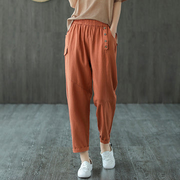 Pure Color Elastic Waist Ramie Pants