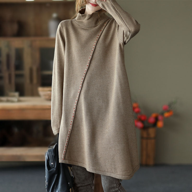 Pure Color High Collar Knitted Sweater Dress