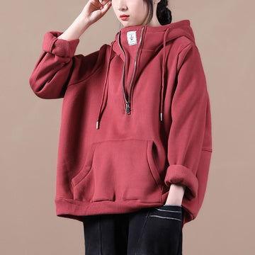 Pure Color Hooded Thicken Winter Sweatshirt