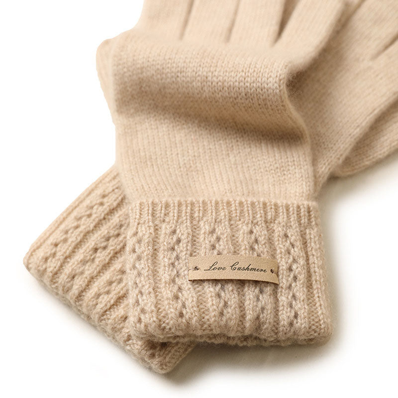 Pure Color Knitted Cashmere Warm Gloves