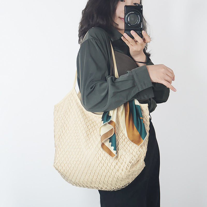 Pure Color Mesh Canvas Shoulder Bag