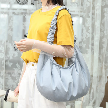 Pure Color Pleated Shoulder Hobo Bag