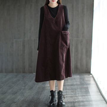 Pure Color Pocket Sleeveless Corduroy Dress