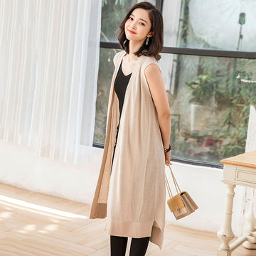 Pure Color Sleeveless Long Knitted Coat