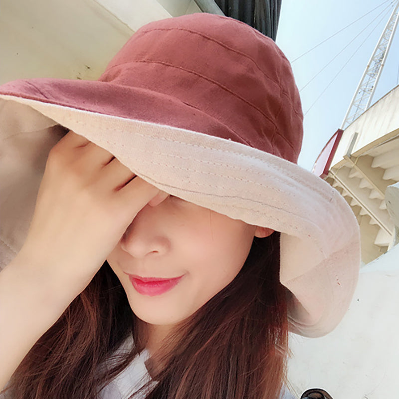 Pure Color Wide Brim Double-sided Cotton Bucket Hat