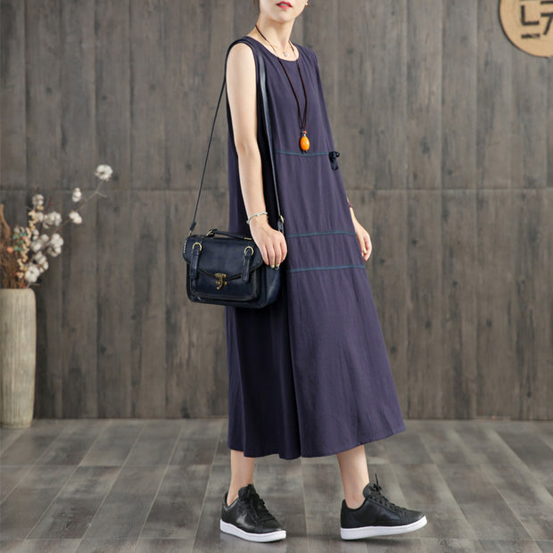 Pure Color Appliques Sleeveless Dress For Women